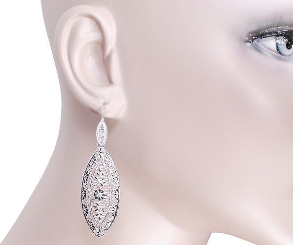 Art Deco Dangling Leaf Sterling Silver Filigree Diamond Earrings - Item: E171WD - Image: 2