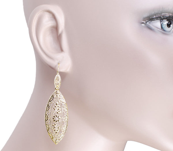 Art Deco Dangling Leaf Sterling Silver Filigree Diamond Earrings with Yellow Gold Vermeil - Item: E171YD - Image: 2