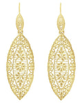 Art Deco Dangling Leaf Sterling Silver Filigree Diamond Earrings with Yellow Gold Vermeil