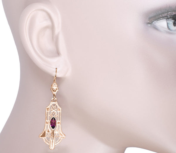 Art Deco Geometric Rhodolite Garnet Dangling Rose Gold Vermeil Filigree Earrings in Sterling Silver - Item: E173RRG - Image: 2
