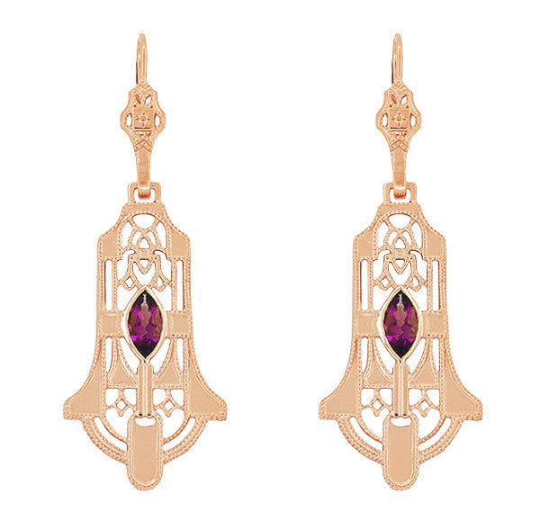 Art Deco Geometric Rhodolite Garnet Dangling Rose Gold Vermeil Filigree Earrings in Sterling Silver