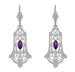 Geometric Amethyst Dangling Sterling Silver Filigree Art Deco Earrings
