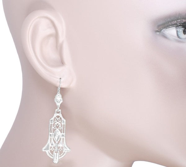Geometric Diamond Dangling Sterling Silver Filigree Art Deco Earrings - Item: E173WD - Image: 3