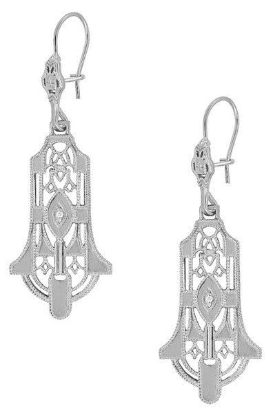 Geometric Diamond Dangling Sterling Silver Filigree Art Deco Earrings - Item: E173WD - Image: 1