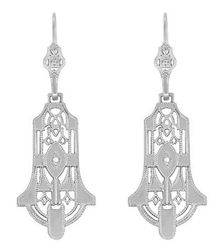 Geometric Diamond Dangling Sterling Silver Filigree Art Deco Earrings