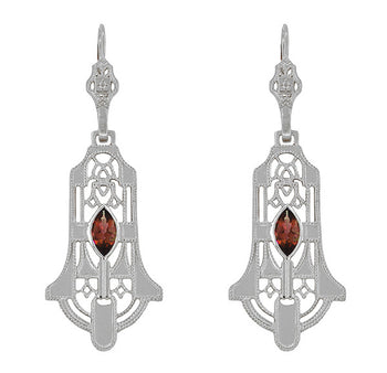 Art Deco Geometric Almandite Garnet Dangling Filigree Earrings in Sterling Silver