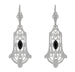 Art Deco Geometric Black Onyx Dangling Sterling Silver Filigree Earrings