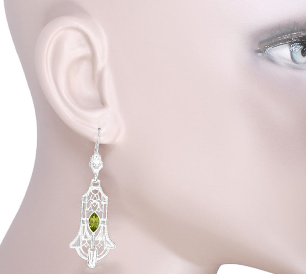 Art Deco Geometric Dangling Filigree Peridot Earrings in Sterling Silver - Item: E173WPER - Image: 2
