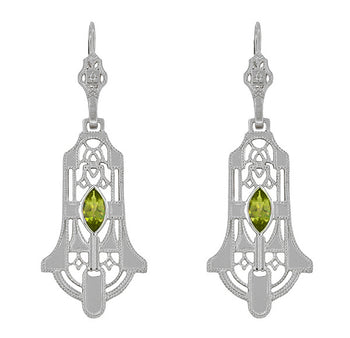 Art Deco Geometric Dangling Filigree Peridot Earrings in Sterling Silver