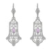 Art Deco Geometric Rose de France Amethyst Dangling Filigree Earrings in Sterling Silver
