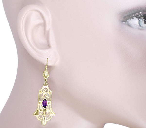 Art Deco Geometric Amethyst Dangling Filigree Earrings in Sterling Silver with Yellow Gold Vermeil - Item: E173YAM - Image: 2