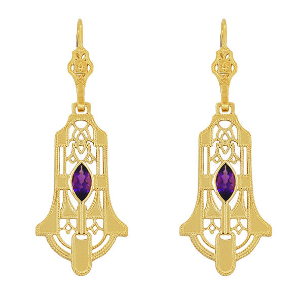 Art Deco Geometric Amethyst Dangling Filigree Earrings in Sterling Silver with Yellow Gold Vermeil