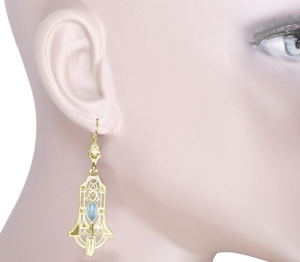 Art Deco Geometric Sky Blue Topaz Dangling Filigree Earrings in Sterling Silver with Yellow Gold Vermeil - Item: E173YBT - Image: 2