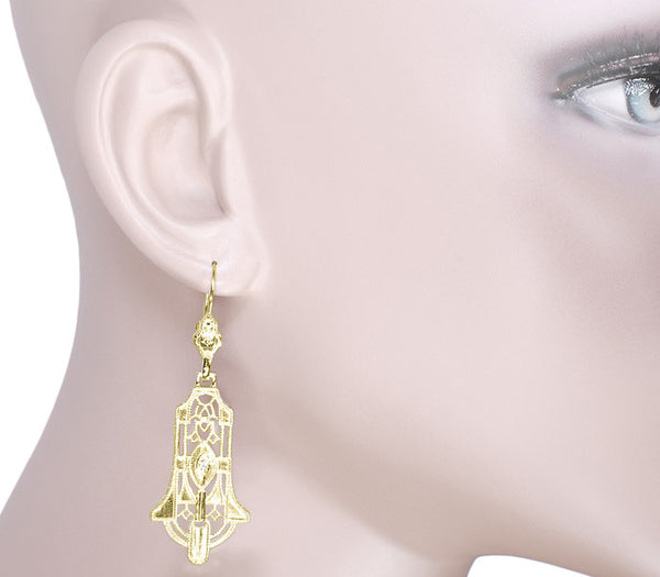 Art Deco Geometric Diamond Dangling Filigree Earrings in Sterling Silver with Yellow Gold Vermeil - Item: E173YD - Image: 3