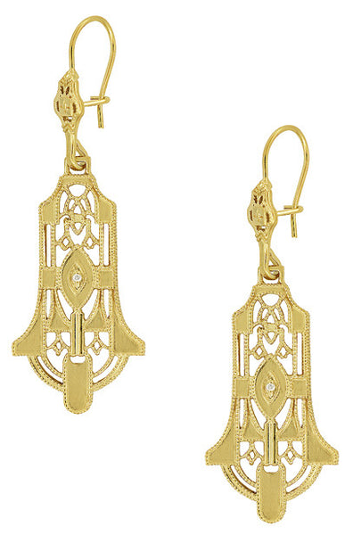 Art Deco Geometric Diamond Dangling Filigree Earrings in Sterling Silver with Yellow Gold Vermeil - Item: E173YD - Image: 1