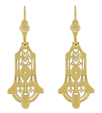 Art Deco Geometric Diamond Dangling Filigree Earrings in Sterling Silver with Yellow Gold Vermeil