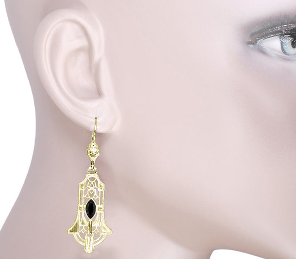Art Deco Geometric Black Onyx Dangling Filigree Earrings in Sterling Silver with Yellow Gold Vermeil - Item: E173YON - Image: 2