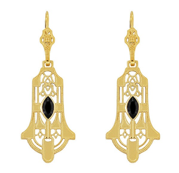 Art Deco Geometric Black Onyx Dangling Filigree Earrings in Sterling Silver with Yellow Gold Vermeil