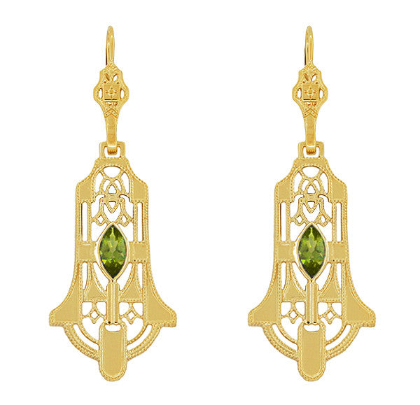 Art Deco Geometric Dangling Filigree Peridot Earrings in Sterling Silver with Yellow Gold Vermeil