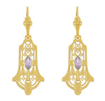 Art Deco Geometric Rose de France Amethyst Dangling Filigree Earrings in Sterling Silver with Yellow Gold Vermeil
