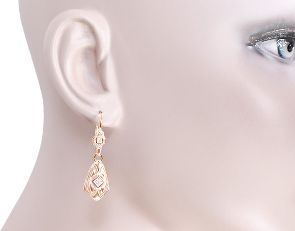 Art Deco Dangling Sterling Silver Diamond Filigree Earrings with Rose Gold Vermeil - Item: E178RD - Image: 2