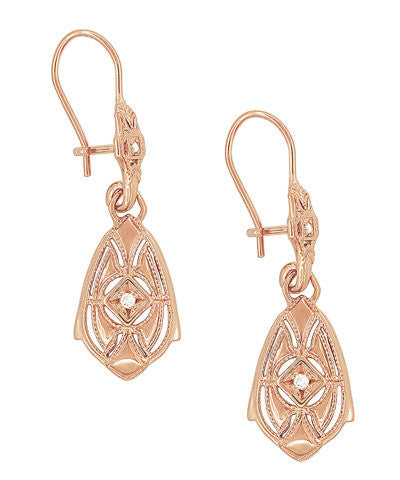 Art Deco Dangling Sterling Silver Diamond Filigree Earrings with Rose Gold Vermeil - Item: E178RD - Image: 1