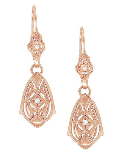 Art Deco Dangling Sterling Silver Diamond Filigree Earrings with Rose Gold Vermeil