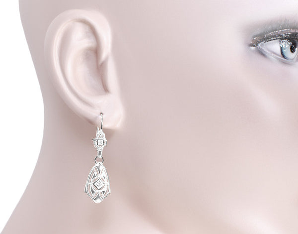 Art Deco Dangling Sterling Silver Diamond Filigree Earrings - Item: E178WD - Image: 2