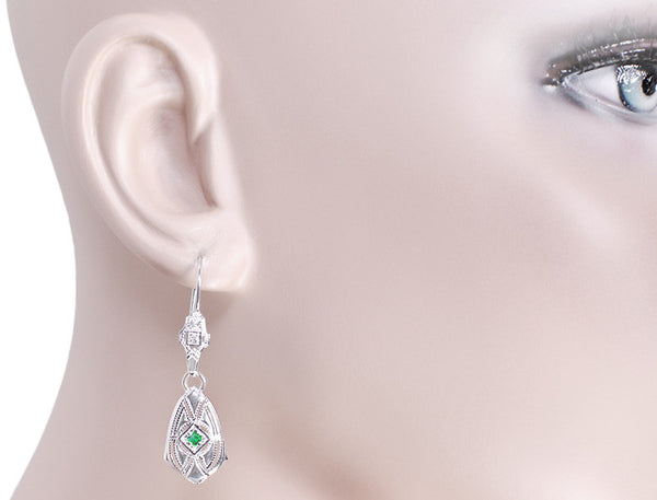 Art Deco Dangling Sterling Silver Emerald and Diamond Filigree Earrings - Item: E178WE - Image: 2