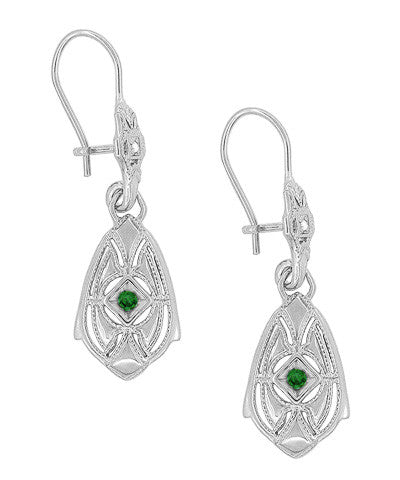 Art Deco Dangling Sterling Silver Emerald and Diamond Filigree Earrings - Item: E178WE - Image: 1