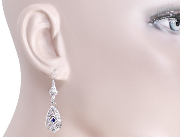 Art Deco Dangling Sterling Silver Sapphire and Diamond Filigree Earrings - Item: E178WS - Image: 2