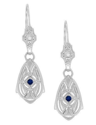 Art Deco Dangling Sterling Silver Sapphire and Diamond Filigree Earrings