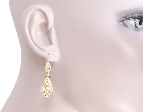 Art Deco Dangling Sterling Silver Diamond Filigree Earrings with Yellow Gold Vermeil - Item: E178YD - Image: 2