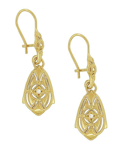 Art Deco Dangling Sterling Silver Diamond Filigree Earrings with Yellow Gold Vermeil - Item: E178YD - Image: 1