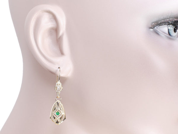 Art Deco Dangling Sterling Silver Emerald and Diamond Filigree Earrings with Yellow Gold Vermeil - Item: E178YE - Image: 2