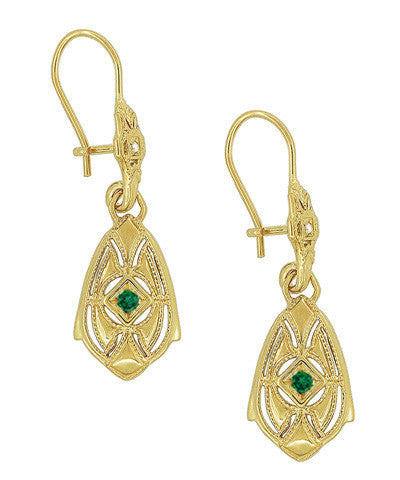 Art Deco Dangling Sterling Silver Emerald and Diamond Filigree Earrings with Yellow Gold Vermeil - Item: E178YE - Image: 1