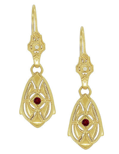 Art Deco Dangling Sterling Silver Ruby and Diamond Filigree Earrings with Yellow Gold Vermeil
