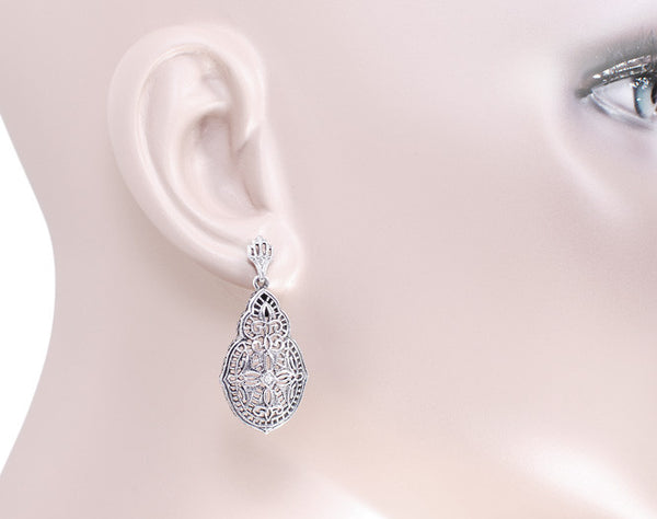 Art Deco Diamond Filigree Teardrop Earrings in Sterling Silver - Item: E179 - Image: 2
