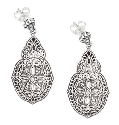 Art Deco Diamond Filigree Teardrop Earrings in Sterling Silver - Item: E179 - Image: 1