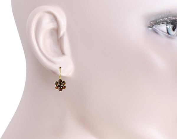 Bohemian Garnet Flowers Victorian Leverback Drop Earrings in 14K Yellow Gold and Sterling Silver Vermeil - Item: E182S - Image: 2