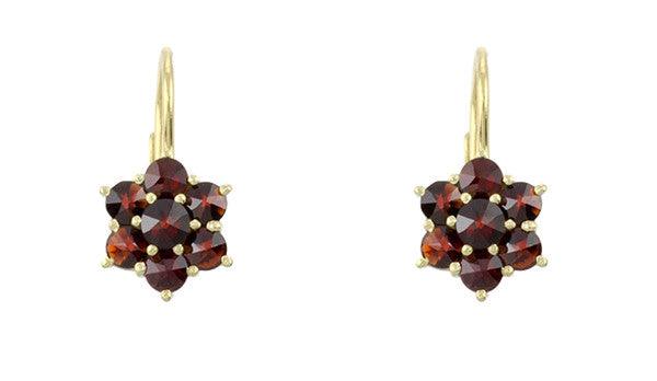 Bohemian Garnet Flowers Victorian Leverback Drop Earrings in 14K Yellow Gold and Sterling Silver Vermeil