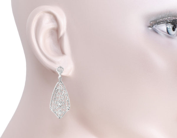 Art Deco Fan Drop Filigree Diamond Earrings in Sterling Silver - Item: E184 - Image: 2