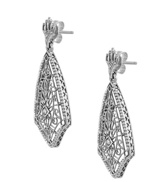 Art Deco Fan Drop Filigree Diamond Earrings in Sterling Silver - Item: E184 - Image: 1