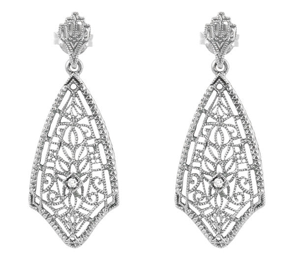 Art Deco Fan Drop Filigree Diamond Earrings in Sterling Silver
