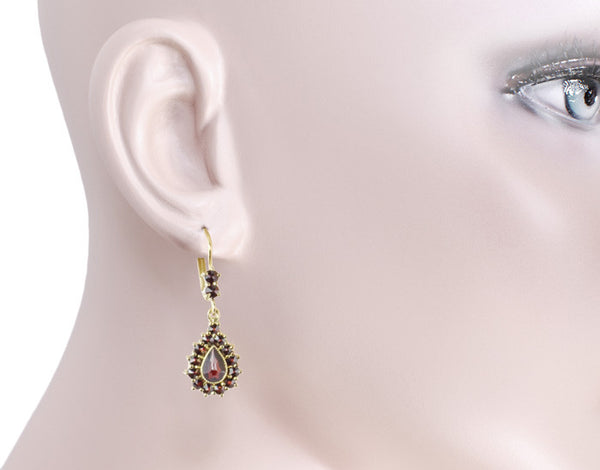 Victorian Bohemian Czech Garnet Pear Shape Teardrop Earrings in 14K Gold and Sterling Silver Vermeil - Item: E186S - Image: 2