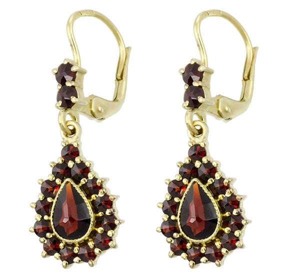 Victorian Bohemian Czech Garnet Pear Shape Teardrop Earrings in 14K Gold and Sterling Silver Vermeil - Item: E186S - Image: 1
