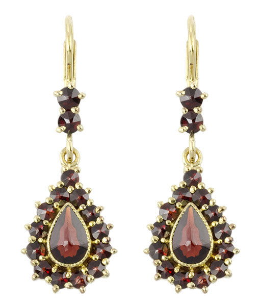 Victorian Bohemian Czech Garnet Pear Shape Teardrop Earrings in 14K Gold and Sterling Silver Vermeil
