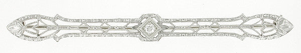 Edwardian Diamond Set Filigree Antique Bar Brooch in 14 Karat White Gold
