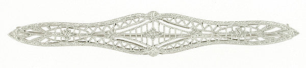 Edwardian Filigree Vintage Bar Brooch in 10 Karat White Gold