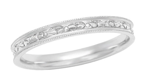 Edwardian Vintage Design Engraved Flowers Womens Wedding Ring in 18K White Gold